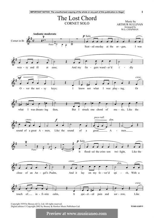 The Lost Chord: For cornet by Arthur Seymour Sullivan