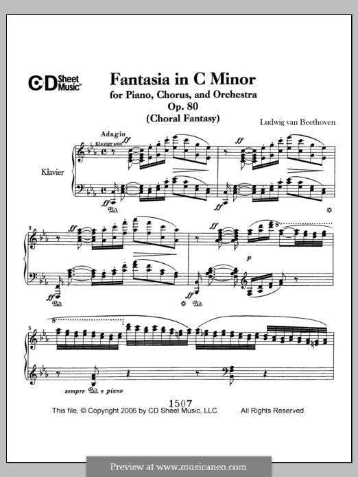 Fantasia in C Minor, Op.80: For piano by Ludwig van Beethoven