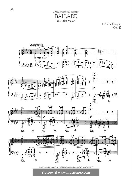 Ballade No.3 in A Flat Major, Op.47: For piano by Frédéric Chopin