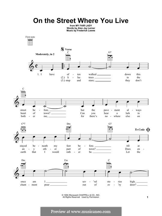 On the Street Where You Live (from My Fair Lady): For ukulele by Frederick Loewe