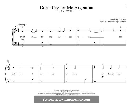 Don't Cry for Me Argentina: For piano by Andrew Lloyd Webber