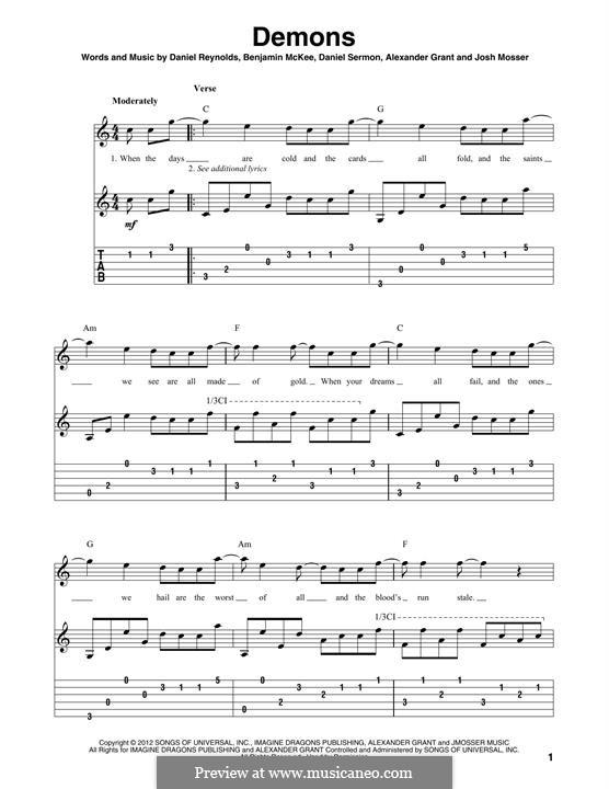 Demons (Imagine Dragons): For guitar by Alexander Grant, Benjamin McKee, Daniel Reynolds, Daniel Sermon, Josh Mosser