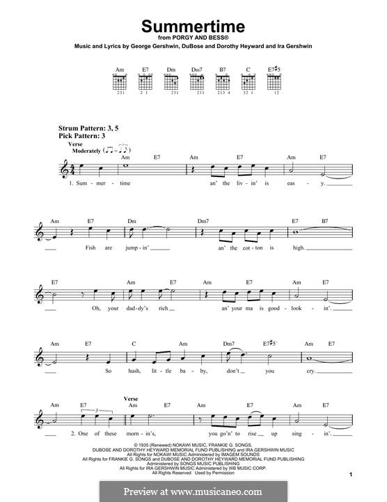 Summertime: For guitar by George Gershwin