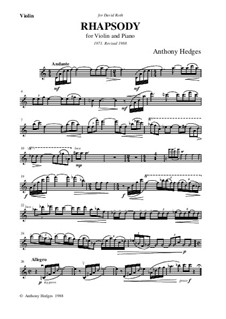 Rhapsody for Violin and Piano, Op.44: Solo part by Anthony Hedges