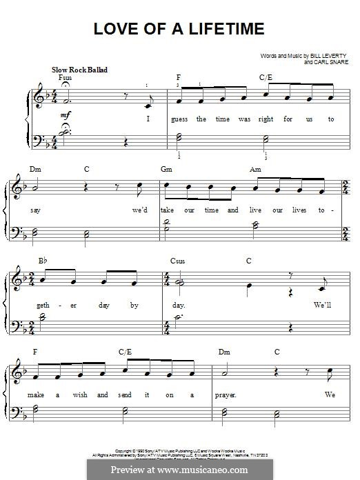 Love of a Lifetime (Firehouse): For piano by Bill Leverty, Carl Snare