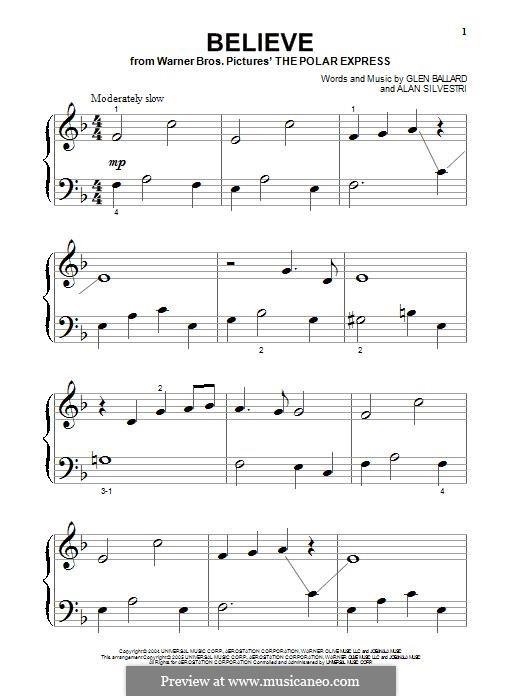 Believe (Josh Groban): For piano by Alan Silvestri, Glen Ballard