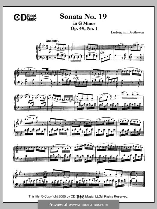 Sonata for Piano No.19, Op.49 No.1: For a single performer by Ludwig van Beethoven