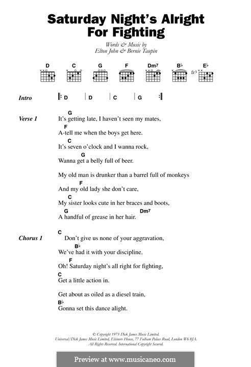 Saturday Night's Alright (For Fighting): Lyrics and chords by Elton John