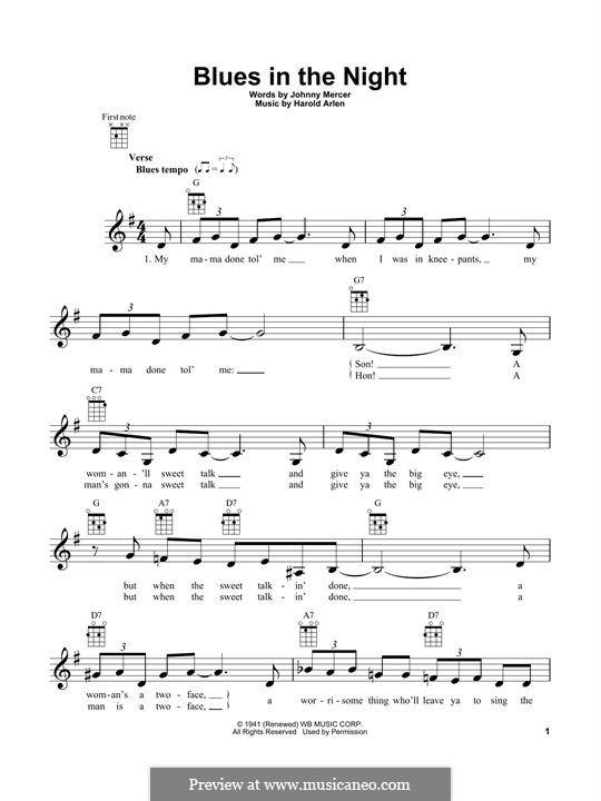 Blues in the Night (My Mama Done Tol' Me): For ukulele by Harold Arlen
