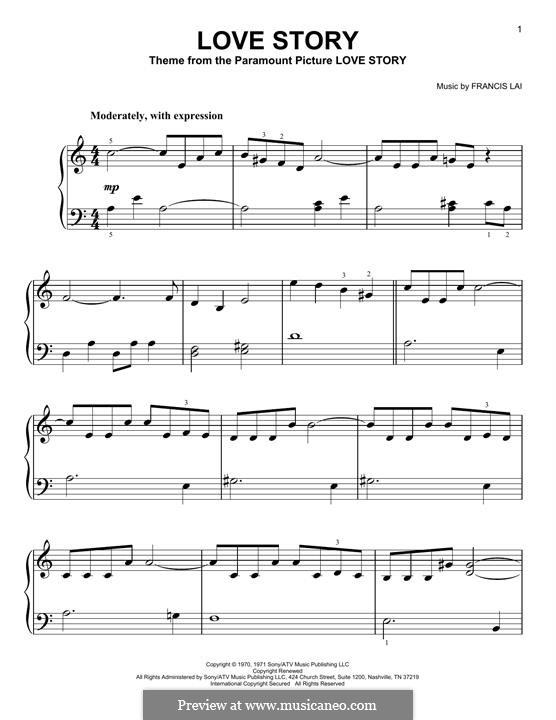 Love Story: For piano by Francis Lai