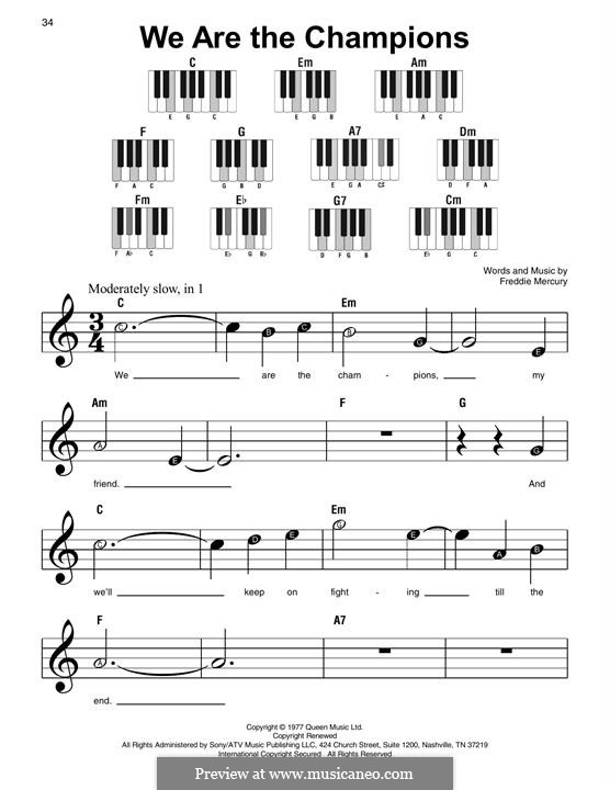 We are the Champions (Queen): For piano by Freddie Mercury