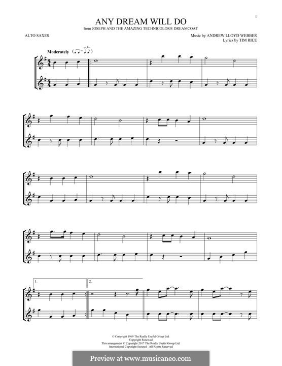 Any Dream Will Do: For two alto saxophones by Andrew Lloyd Webber