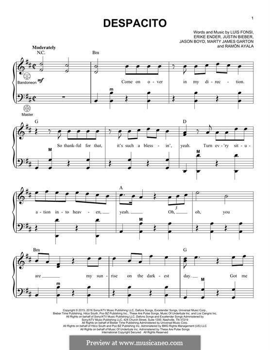 Despacito (feat. Justin Bieber): For accordion by Luis Fonsi, Erika Ender, Ramon Ayala