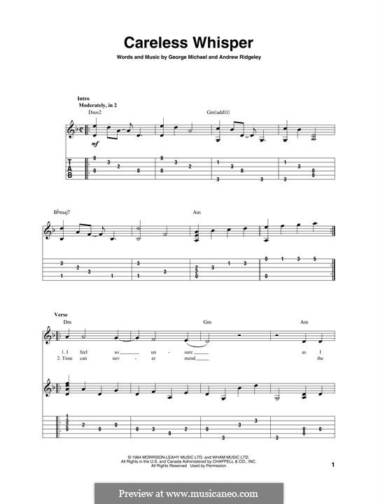 Careless Whisper: For guitar with tab by Andrew Ridgeley, George Michael