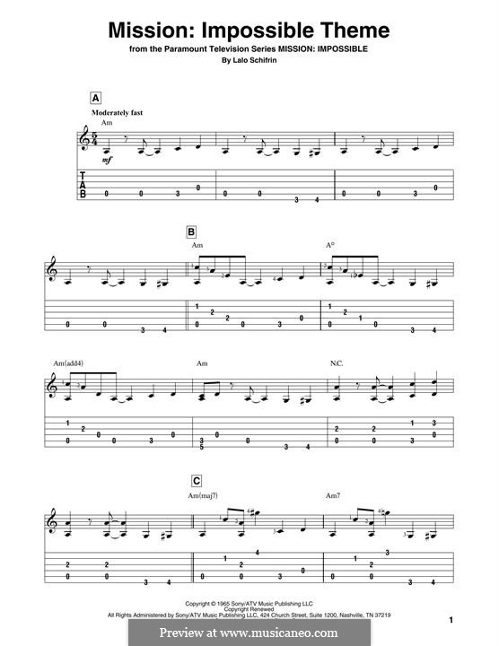 Mission: Impossible Theme: For guitar by Lalo Schifrin
