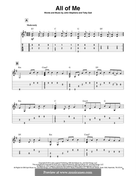 All of Me: For guitar with tab by John Stephens, Tobias Gad