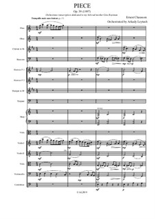 Piece for Cello (or Viola) and Piano, Op.39: Version for viola and chamber orchestra by Ernest Chausson