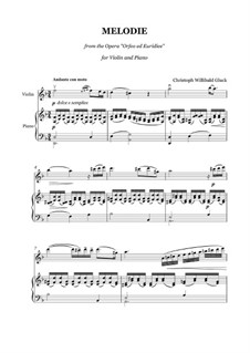 Melody: For violin and piano by Christoph Willibald Gluck