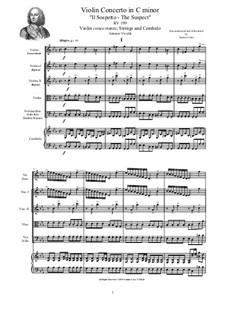Concerto in C minor 'The Suspect' for Violin, Strings and Cembalo, RV 199: Score, parts by Antonio Vivaldi