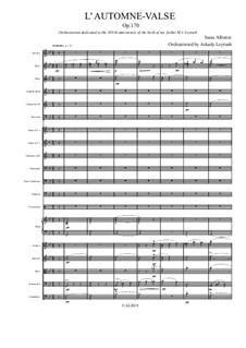 Autumn Waltz, Op.170: For symphonic orchestra by Isaac Albéniz