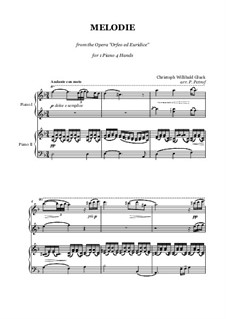 Melody: For piano four hands by Christoph Willibald Gluck