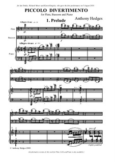 Piccolo Divetimento, Op.158: Full score by Anthony Hedges