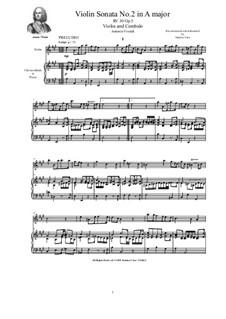 Six Sonatas for Violin Solo, Two Violins and Cembalo (or Piano), Op.5: Sonata No.2 in A major, RV 30 by Antonio Vivaldi