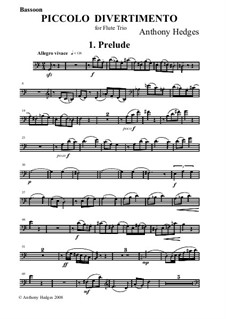 Piccolo Divetimento, Op.158: Bassoon Part by Anthony Hedges