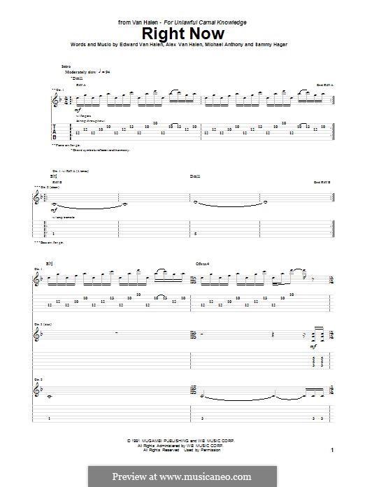 Right Now (Van Halen): For guitar with tab by Alex Van Halen, Edward Van Halen, Michael Anthony, Sammy Hagar