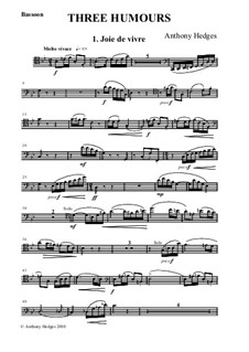 Three Humours, Op.163: Bassoon Part by Anthony Hedges