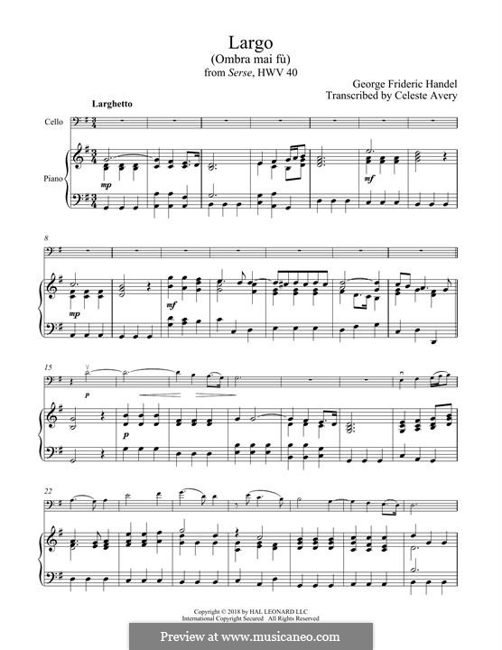 Ombra mai fu: For cello and piano by Georg Friedrich Händel