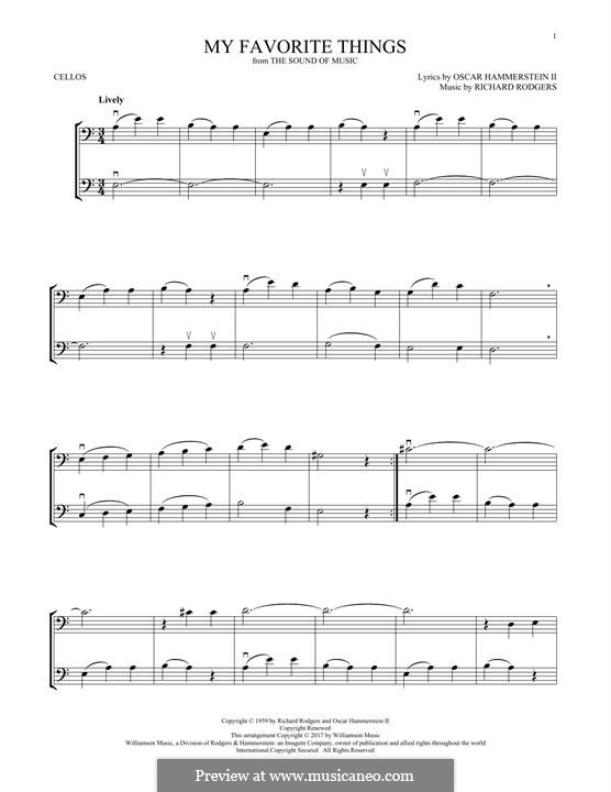 My Favorite Things (from The Sound of Music): For two cellos by Richard Rodgers