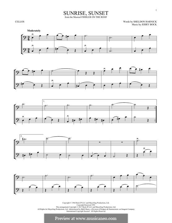 Sunrise, Sunset (from Fiddler on the Roof): For two cellos by Jerry Bock