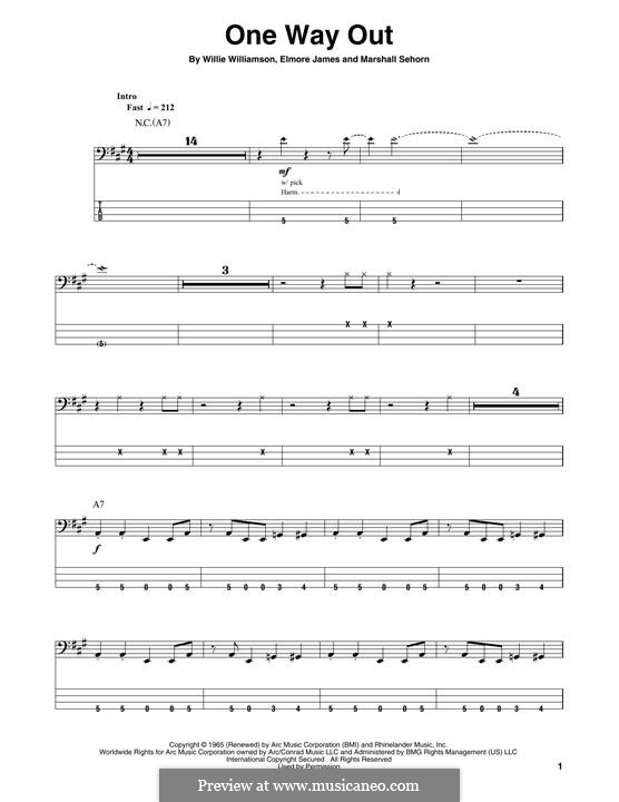 One Way Out (Allman Brothers Band): For bass guitar with tab by Elmore James, Marshall Sehorn