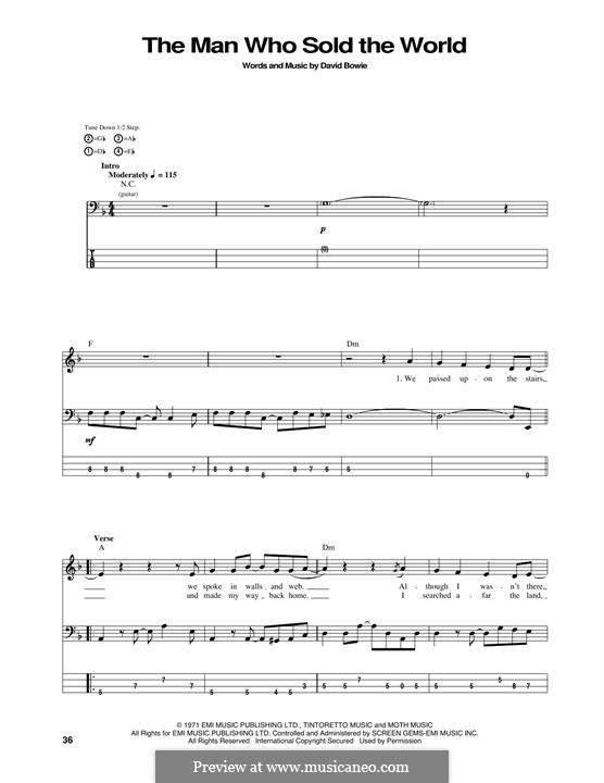 The Man Who Sold the World (Nirvana): For bass guitar with tab by David Bowie