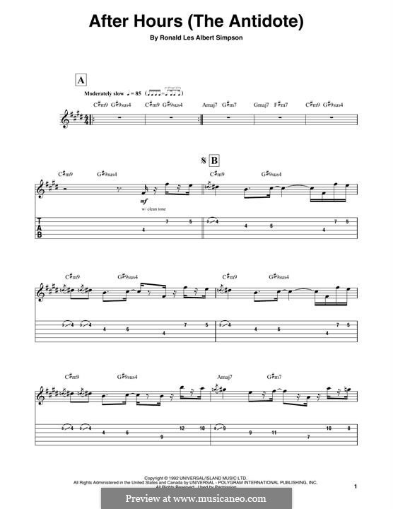 After Hours (The Antidote): For guitar with tab by Ronald Les Albert Simpson