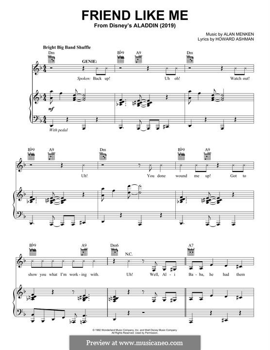 Friend Like Me (from Aladdin): For voice and piano (or guitar) by Alan Menken