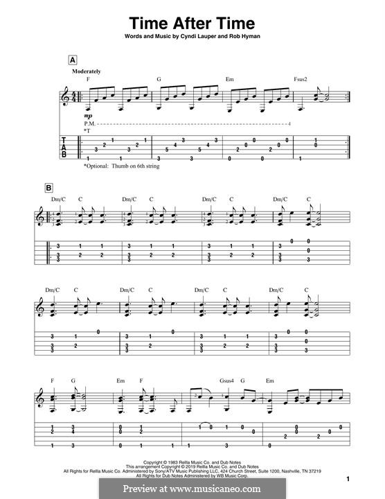 Time after Time: For guitar with tab by Cyndi Lauper, Robert Hyman