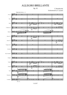 Allegro Brilliant in A Major, Op.92: For symphonic orchestra by Felix Mendelssohn-Bartholdy