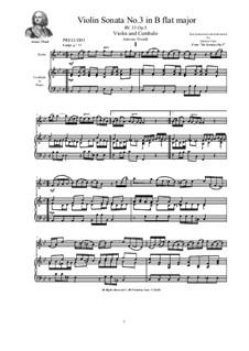 Six Sonatas for Violin Solo, Two Violins and Cembalo (or Piano), Op.5: Sonata No.3 in B flat major, RV 33 by Antonio Vivaldi