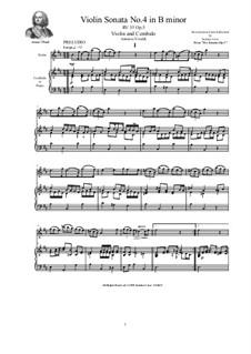 Six Sonatas for Violin Solo, Two Violins and Cembalo (or Piano), Op.5: Sonata No.4 in B minor, RV 35 by Antonio Vivaldi
