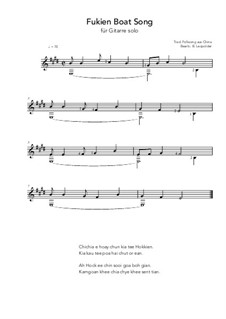 Fukien Boat Song: For guitar solo (E Major) by folklore