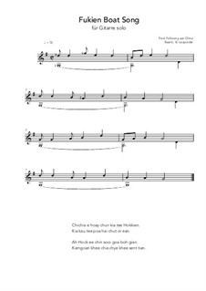Fukien Boat Song: For guitar solo (G Major) by folklore