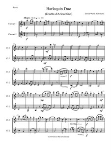 Harlequin Duo (Duetto d'Arlecchino): For 2 clarinets by David W Solomons