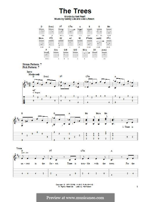 The Trees (Rush): For guitar with tab by Alex Lifeson, Geddy Lee