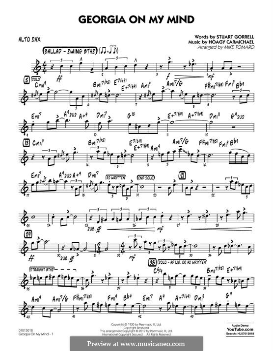 Georgia on My Mind: Alto Sax part by Hoagy Carmichael