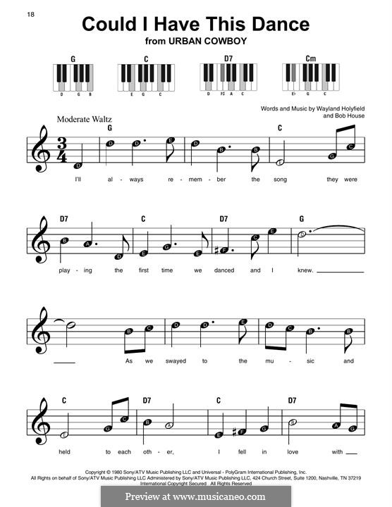 Could I Have This Dance (Anne Murray): For piano by Bob House, Wayland Holyfield