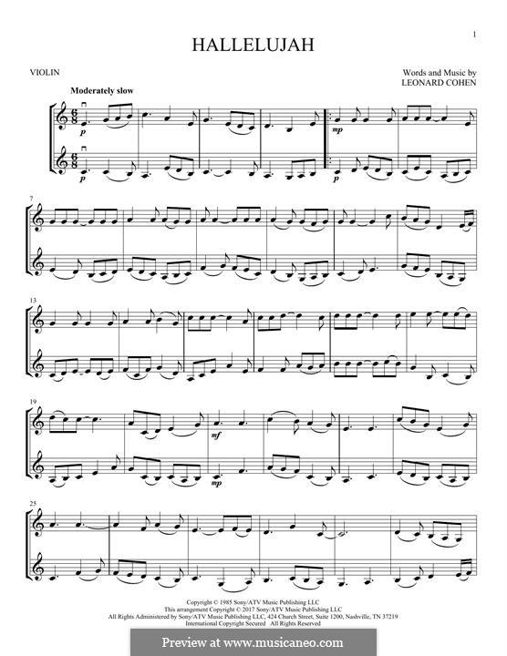 Hallelujah: For two violins by Leonard Cohen