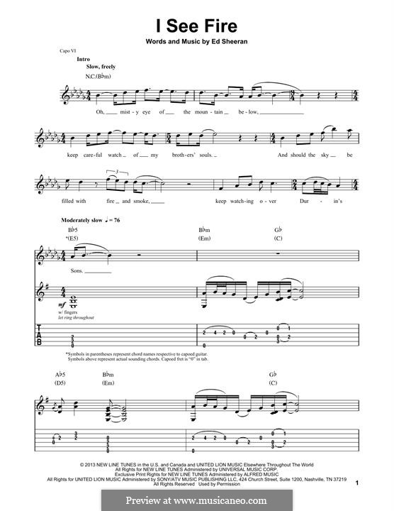 I See Fire (from The Hobbit): For guitar with tab by Ed Sheeran