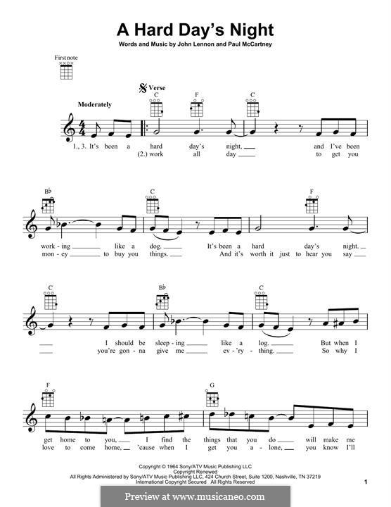 A Hard Day's Night (The Beatles): For ukulele by John Lennon, Paul McCartney